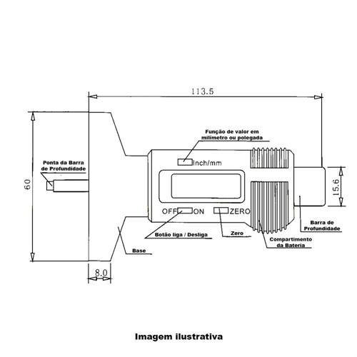 Paquímetro Digital Profundímetro (Sulcos de Pneu) + CERTIFICADO RBC (ATENDE PORTARIA DETRAN SP Nº 68)